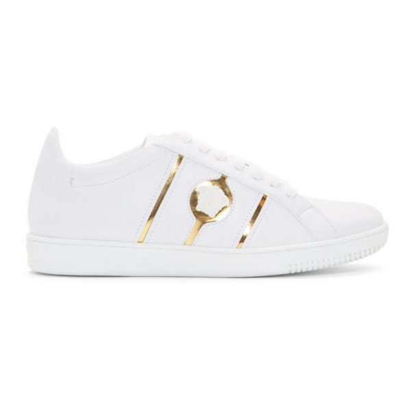 Versace White and Gold Medusa Martin Sneakers