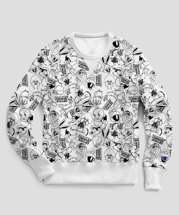 Champion + Looney Tunes All Over Print Crew in White